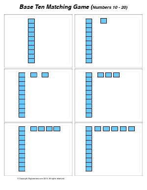 Preview image for worksheet with title Base Ten Matching Game  ( numbers 10 - 20 )