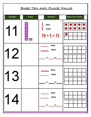 Preview image for worksheet with title Base Ten and Place Value  ( up to 20 )