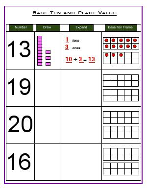 Preview image for worksheet with title Base Ten and Place value ( challenge worksheet )