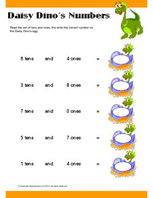Preview image for worksheet with title Daisy Dino's Numbers