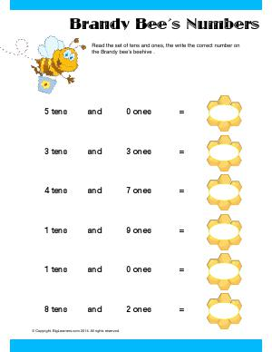 Preview image for worksheet with title Brandy Bee's Numbers
