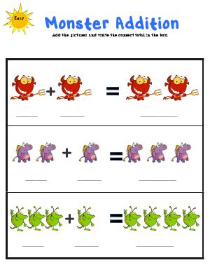 Preview image for worksheet with title Monster Addition
