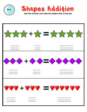 Preview image for worksheet with title Shapes Addition  (easy)