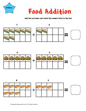 Preview image for worksheet with title Food Addition ( single digit )