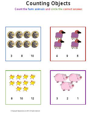 Preview image for worksheet with title Counting Objects ( Farm theme )