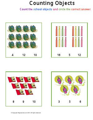 Preview image for worksheet with title Counting Objects ( school supplies )