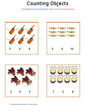 Preview image for worksheet with title Counting Objects ( Musical instruments theme )