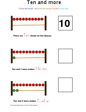 Preview image for worksheet with title Ten and More ( Abacus math )