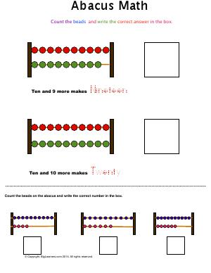 Preview image for worksheet with title Abacus Math