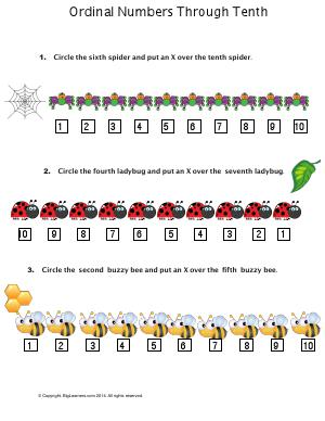 Preview image for worksheet with title Ordinal numbers Through Tenth