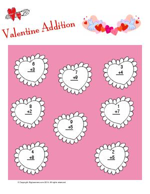 Preview image for worksheet with title Valentines Addition