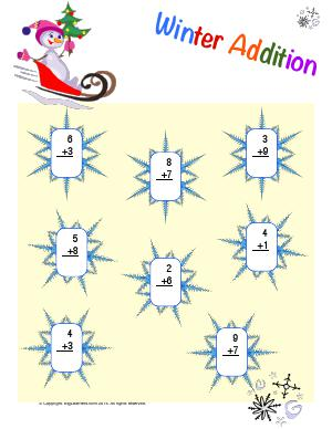 Preview image for worksheet with title Winter Addition