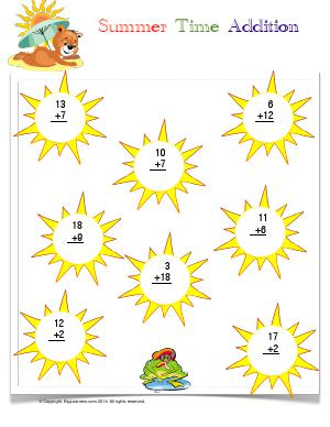 Preview image for worksheet with title Summer Time Addition