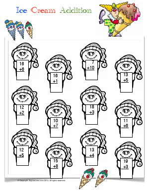 Preview image for worksheet with title Ice Cream Addition