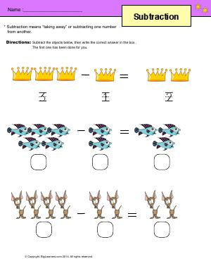 Preview image for worksheet with title Subtraction ( up to 5 )