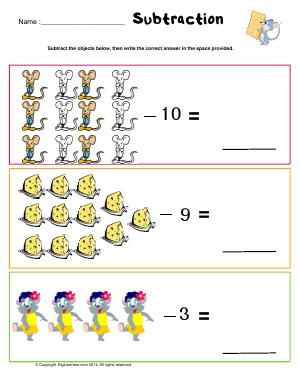 Preview image for worksheet with title Subtraction