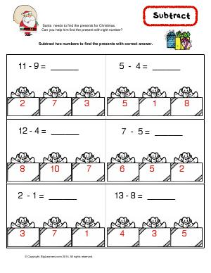 Preview image for worksheet with title Subtract ( Christmas Theme )