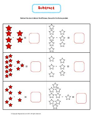 Preview image for worksheet with title Subtract