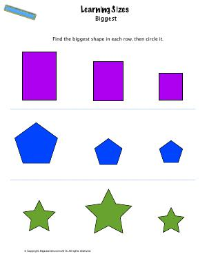 Preview image for worksheet with title Learning Sizes