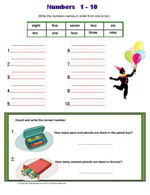 Preview image for worksheet with title Numbers 1 - 10