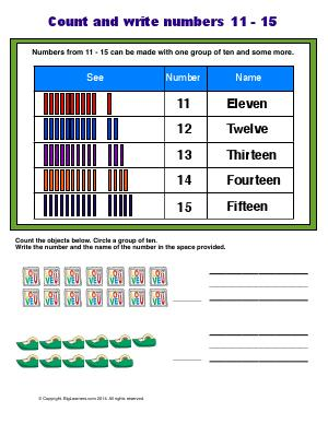 Preview image for worksheet with title Count and Write Numbers 11 - 15