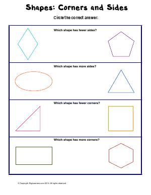Preview image for worksheet with title Shapes: Corners and Sides ( Plane Shapes )