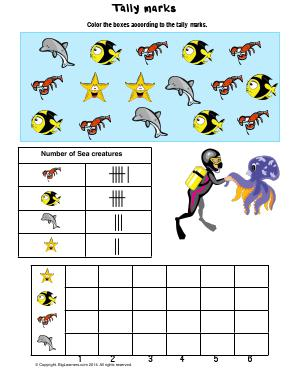 Preview image for worksheet with title Tally Marks ( under the sea theme )