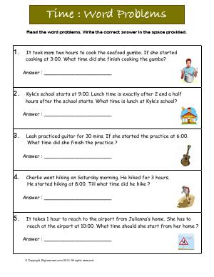 Preview image for worksheet with title Time: Word Problems