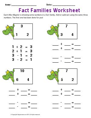 Preview image for worksheet with title Fact Families Worksheet
