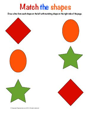 Preview image for worksheet with title Match the Shapes