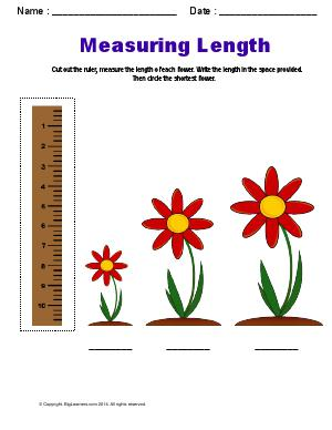 Preview image for worksheet with title Measuring Length