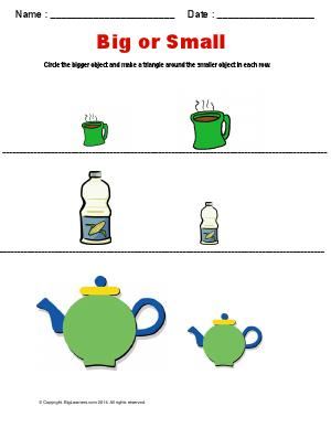 Preview image for worksheet with title Big or Small