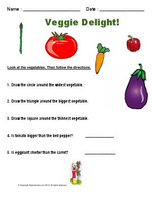 Preview image for worksheet with title Veggie Delight!