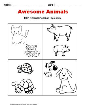 Preview image for worksheet with title Awesome Animals