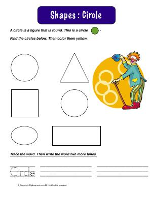 Preview image for worksheet with title Shapes : Circle