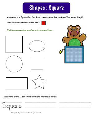 Preview image for worksheet with title Shapes : Square