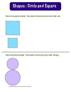 Preview image for worksheet with title Shapes : Circles and Squares