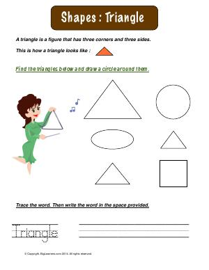 Preview image for worksheet with title Shapes : Triangle