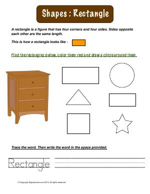 Preview image for worksheet with title Shapes : Rectangle