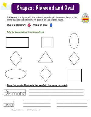 Preview image for worksheet with title Shapes : Diamond and Oval