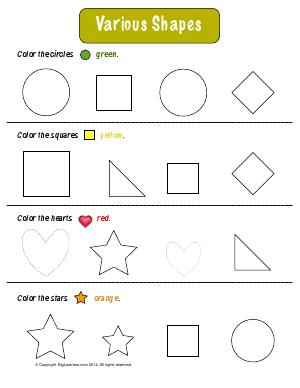 Preview image for worksheet with title Various Shapes