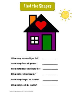 Preview image for worksheet with title Find the Shapes