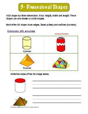 3 dimensional shapes preschool and kindergarten math worksheets biglearners. Black Bedroom Furniture Sets. Home Design Ideas