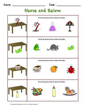Preview image for worksheet with title Above and Below