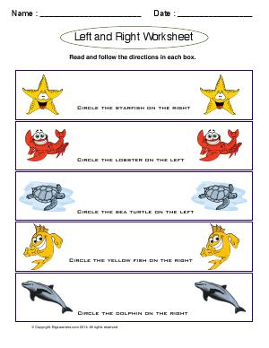 Preview image for worksheet with title Left and Right Worksheet