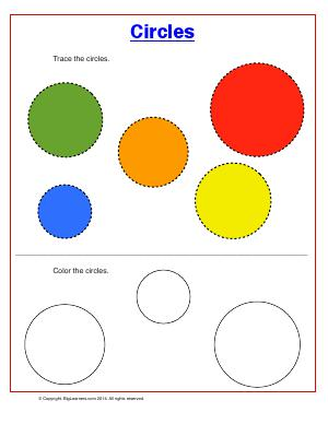 Preview image for worksheet with title Circles