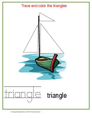 Preview image for worksheet with title Trace and Color the Triangles
