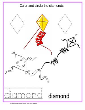 Preview image for worksheet with title Color and Circle the Diamonds