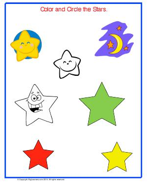 Preview image for worksheet with title Color and Circle the Stars
