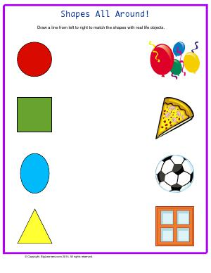 Preview image for worksheet with title Shapes All Around!